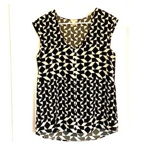 J. Crew Black and Cream Patterned Top